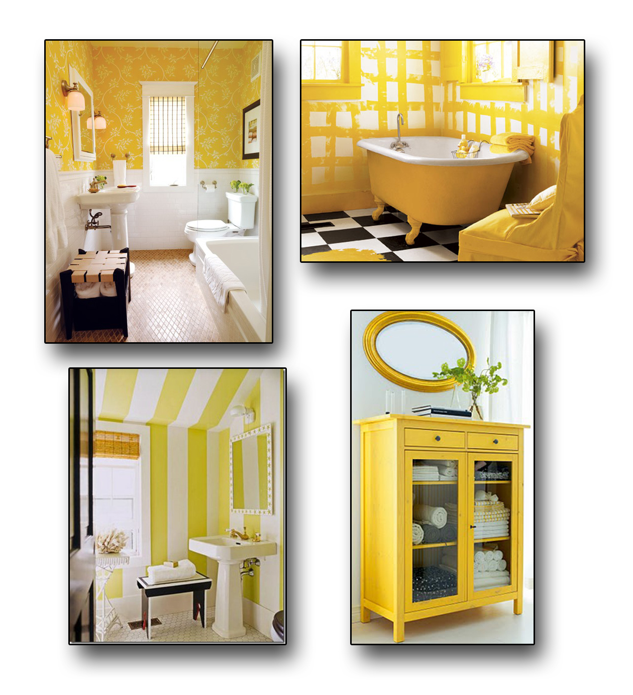 Yellow and gray bathroom decor house made of paper for Bathroom decor yellow and gray